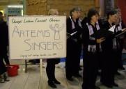 Singing at the Pedway at Block 37, Dec 2013